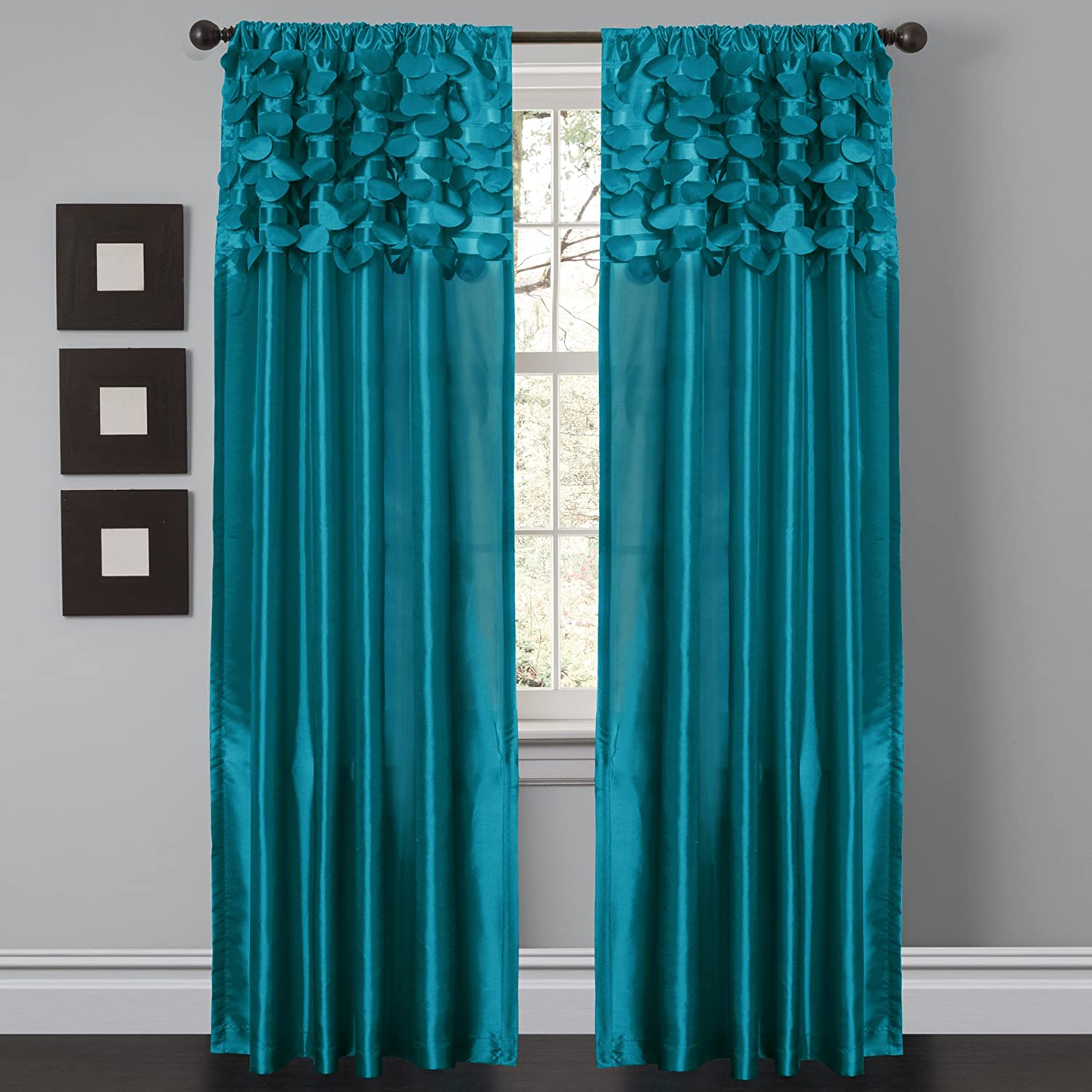 "Lush Decor Circle Dream Window Curtains Panel Set for Living, Dining Room, Bedroom (Pair), 84"" x 54"", Turquoise"