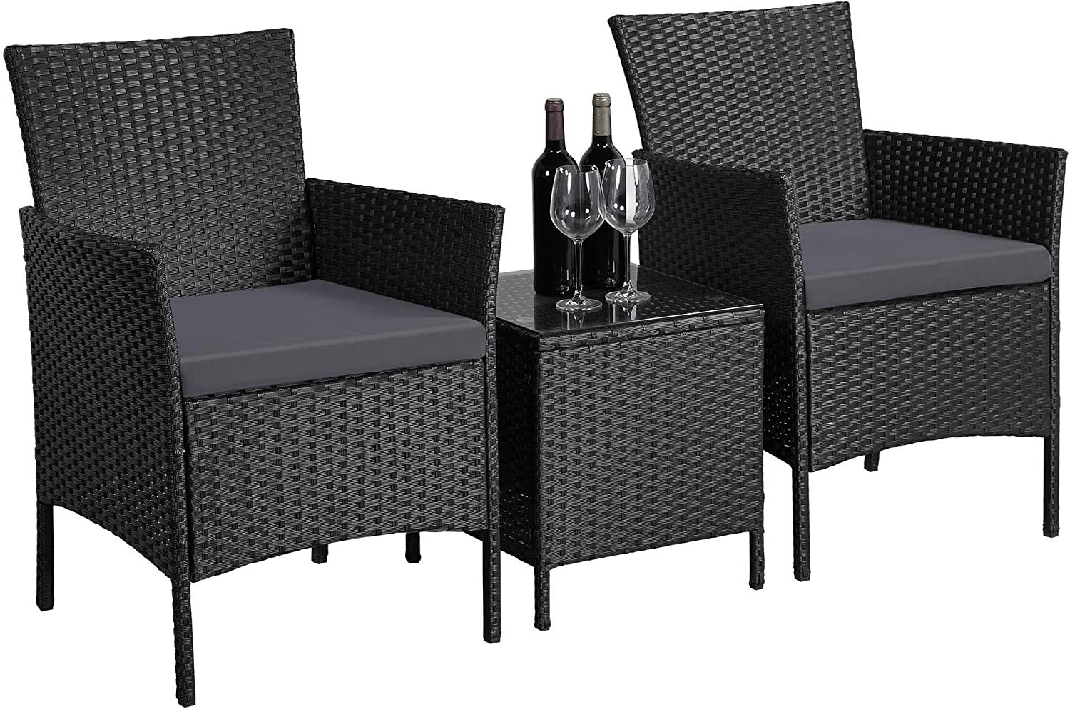 YAHEETECH 3 Piece Wicker Set Rattan Chairs and Coffee Table PE Stacking Chair Side Table Home Furniture for Bistro Patio Porch Outdoor Garden Grey Cushion