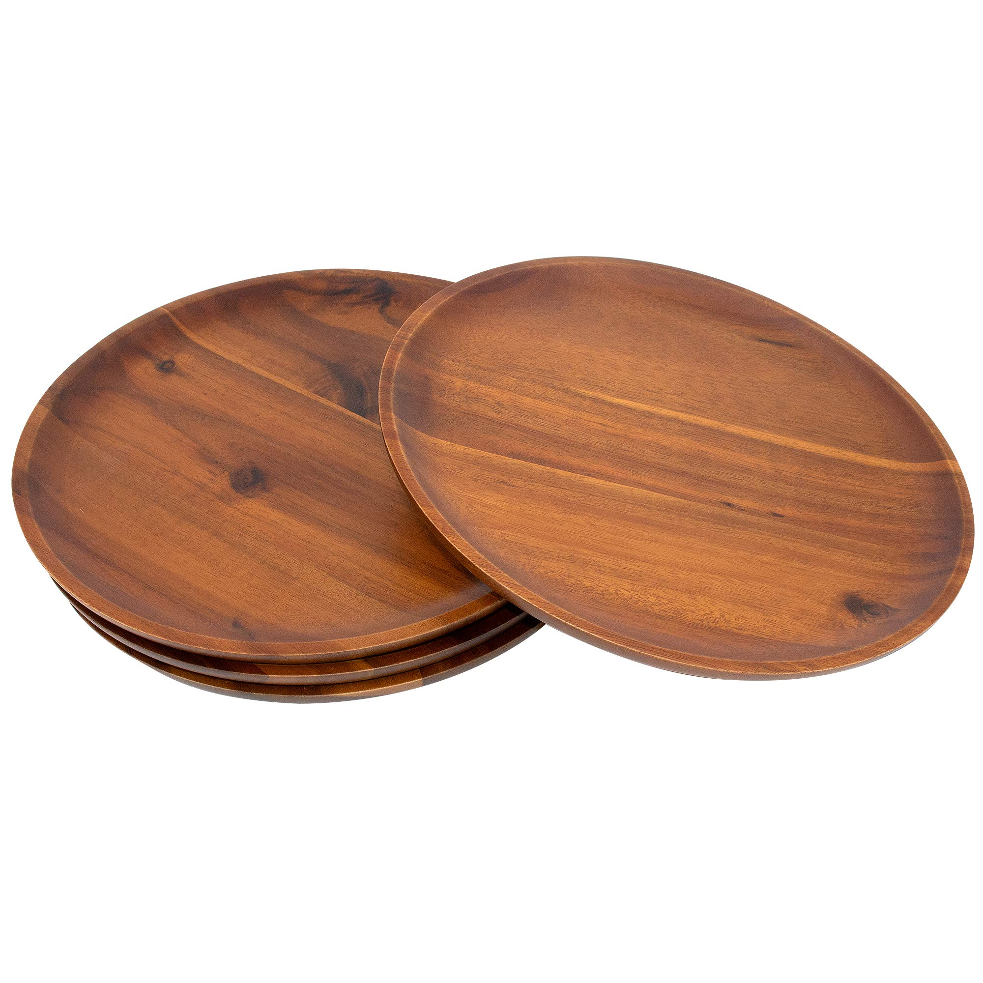 AIDEA Acacia Wood Food Serving Charger Plates - 11 inch Set of 4 Round Wooden Dishes Snack Plates by AIDEA (Image #5)