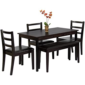 Best Choice Products Wood 5 Piece Dining Table Set W Bench 3 Chairs Dinette