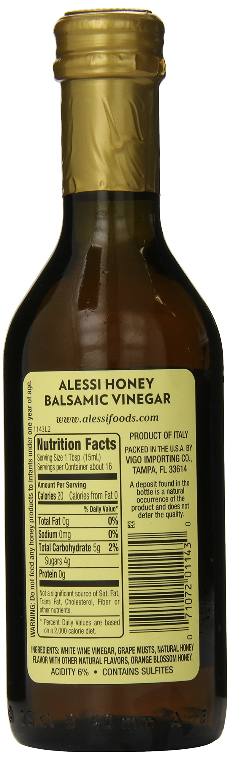 Alessi Honey Balsamic Vinegar, 8.5 Ounce 3 A deposit found in the bottle is a natural occurrence of the product and does not deter the quality. Alessi Orange Blossom Honey Balsamic Vinegar is a ligh