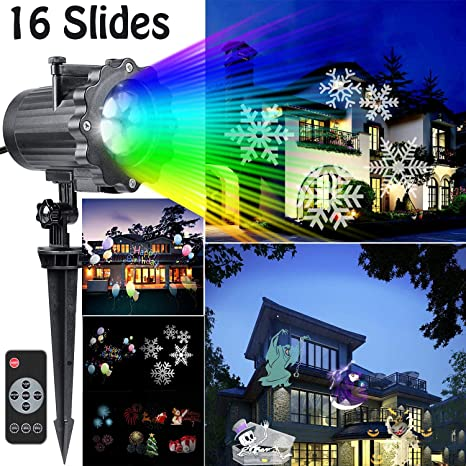 led christmas light projector newest version bright led landscape spotlight with 16 slides dynamic lighting - Amazon Led Christmas Lights