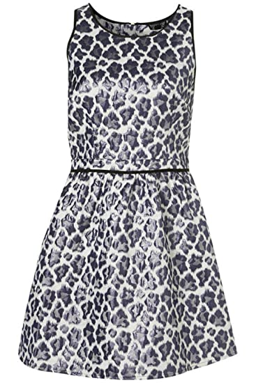 15707f08e26f Topshop Metallic Shiny Grey Blue Leopard Print Skater Skirt Dress Size 10   Amazon.co.uk  Clothing