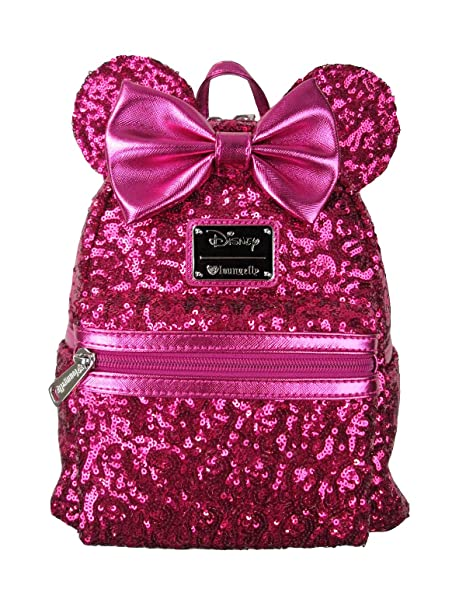 4d29bef239d Loungefly Disney Minnie Mouse Pink Sequin Mini Backpack  Amazon.in  Sports