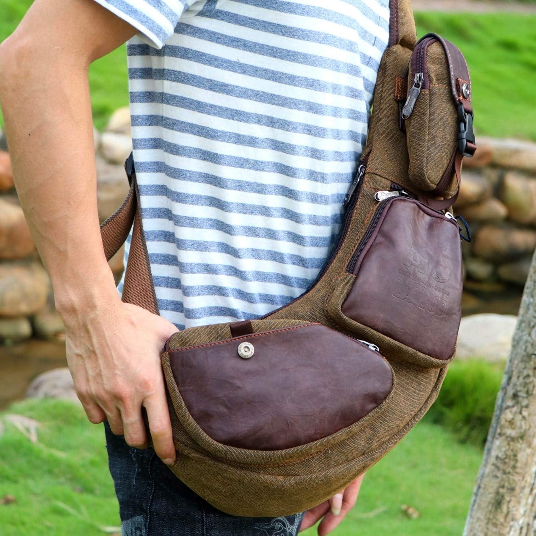 Outreo Bolsa Vintage Bolsas de Viaje Pecho Bolso Bandolera Hombre Outdoor Cuero Casual Chest Bag Sport Bolsos de tela Colegio Monta/ña Originales