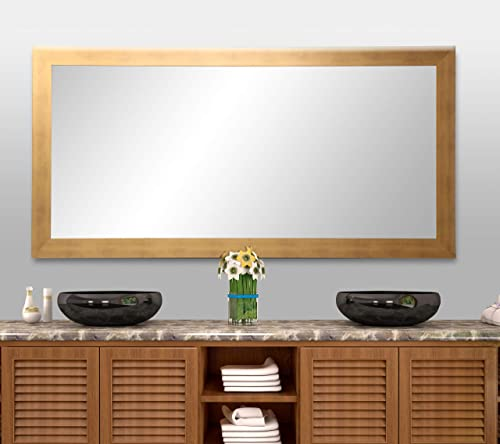 BrandtWorks, LLC BM068T Brushed Gold Floor Mirror, 32 x 71