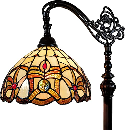 Amora Lighting Tiffany Style Floor Lamp Arched 62″ Tall Stained Glass Tan Yellow Brown Antique Vintage Light Decor Bedroom Living Room Reading Gift AM272FL11B