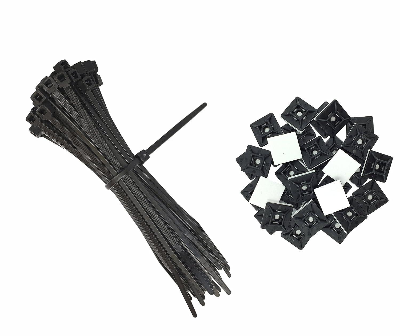 50 St/ück 19mm x 19 mm intervisio Set Kabelbinder 200mm x 2,5mm 100 St/ück und Klebesockel f/ür Kabelbinder schwarz schwarz