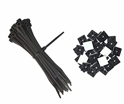 bec005e0a2f2 intervisio Zip Ties Wrap Nylon Cord 200mm x 2.5 mm / 100 Pieces + Cable Tie