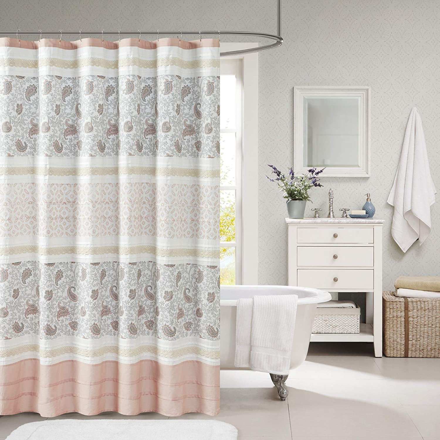 Madison Park Dawn Cotton Fabric Shower Curtain Pintucked, Paisley Design Machine Washable Shabby Chic Modern Home Bathroom Décor Bathtub Privacy Screen, 72x72, Blush