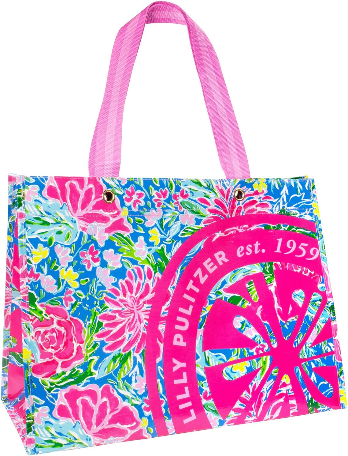 Lilly Pulitzer XL Market Shopper Bag, Oversize Reusable Grocery Tote with Comfortable Shoulder Straps, Bunny Business