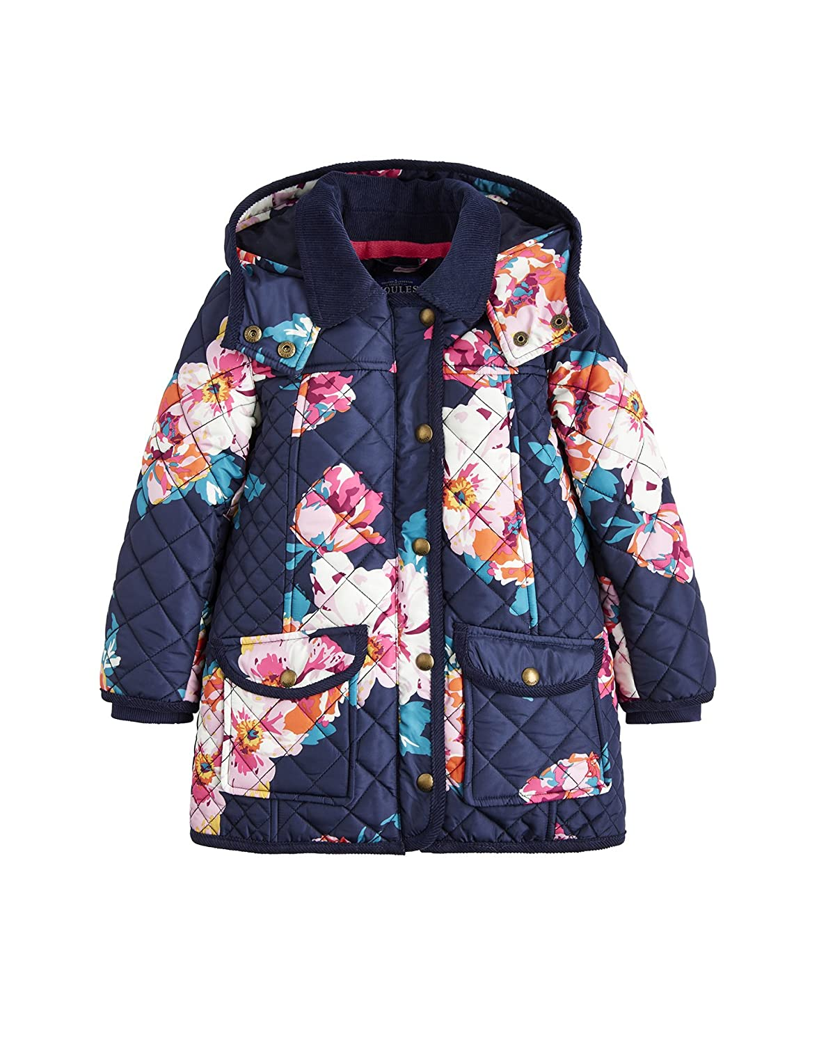 Joules Hooded Quilted Jacket - Navy Granny Floral