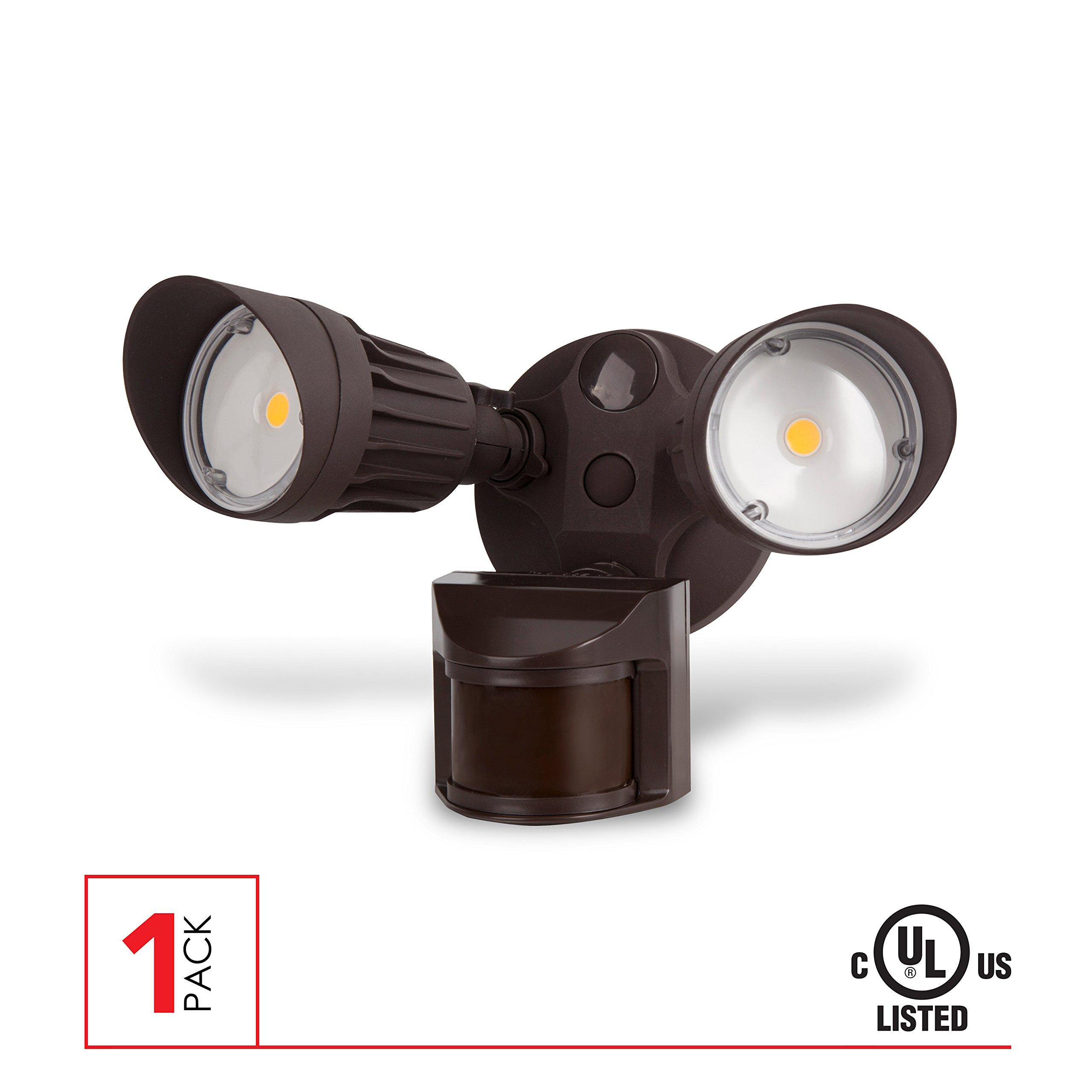 LED Security Light, 20W (100W Equivalent) Moition Sensor Light, 1800 Lumens, 5000K, Waterproof IP65, UL Listed, Bronze