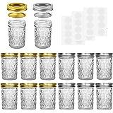 Mason Jars, 8 OZ Mason Jars Canning Jars Jelly Jars With Regular Lids and Bands, Ideal for Jam, Honey, Wedding Favors, Shower
