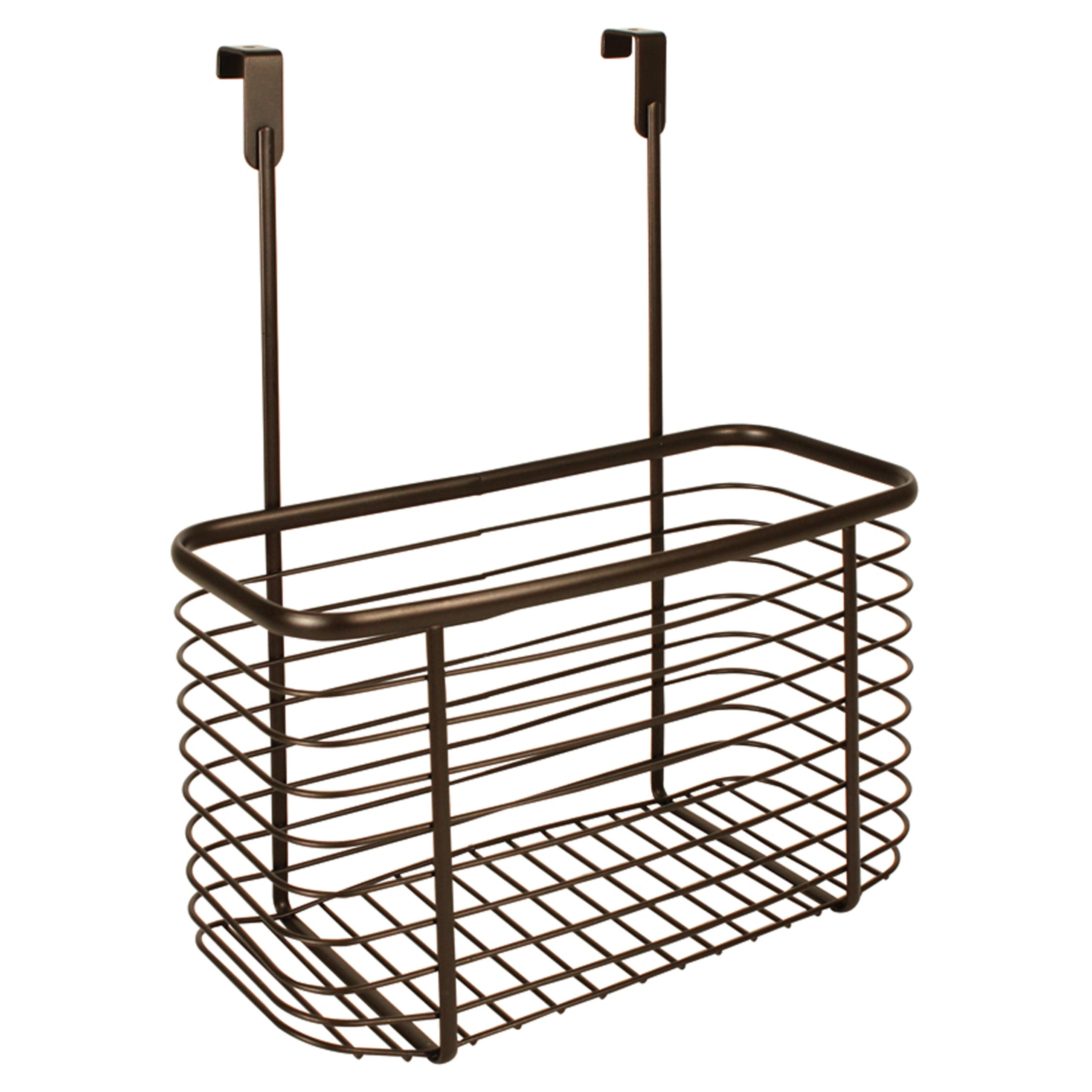 InterDesign Axis Over the Cabinet Kitchen Storage Organizer Basket for Aluminum Foil, Sandwich Bags, Cleaning Supplies - Large, Bronze