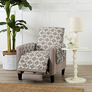 Reversible Recliner Cover for Living Room. Oversized Furniture Protector with Secure Straps. Recliner Cover for Dogs, Protect from Kids and Pets. Wyatt Collection (Recliner, Silver Cloud)