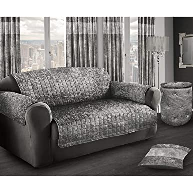 Attirant Intimates Crushed Velvet Chair/Couch Protector (Two Seater) (Silver)