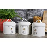Set of 3 English Tableware Co. Bee Happy Enamel Tea Coffee Sugar Storage Canisters