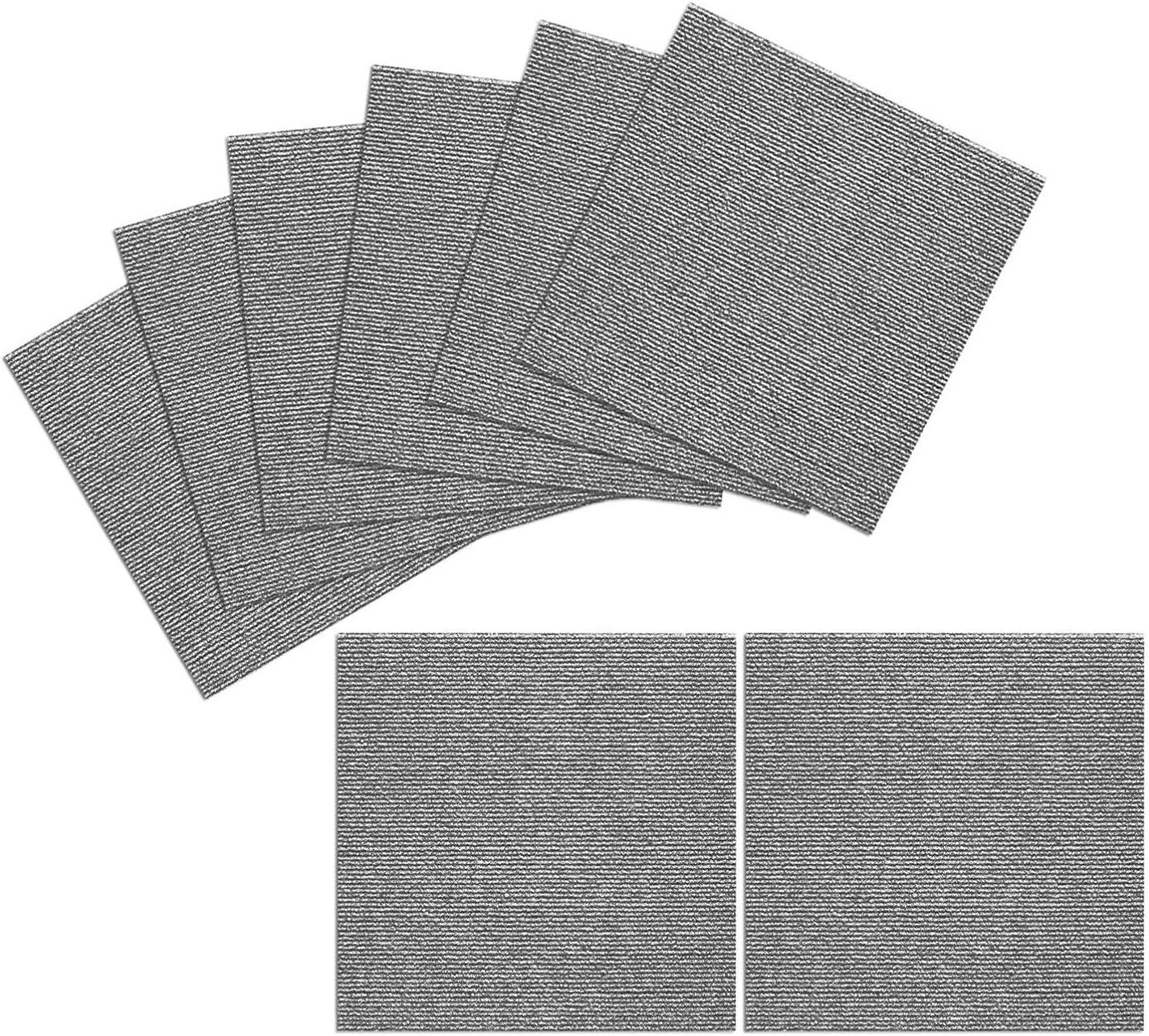 TRILUC Peel and Stick Carpet Tile Squares – Machine Washable, Non-Slip, Water Repellent Tile Mats – 12 x 12 x .13 - Pack of 8, Gray