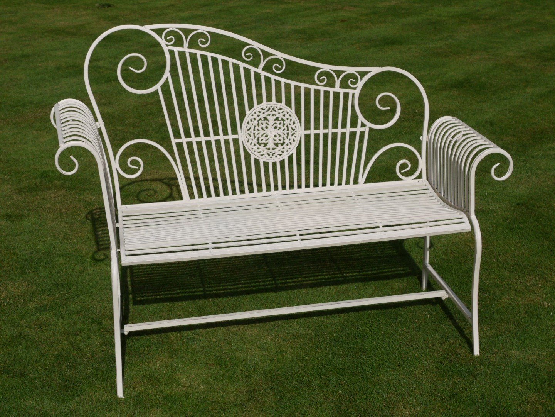 Astonishing Ivory Cream Wrought Iron Garden Bench Lovers Garden Bench Evergreenethics Interior Chair Design Evergreenethicsorg