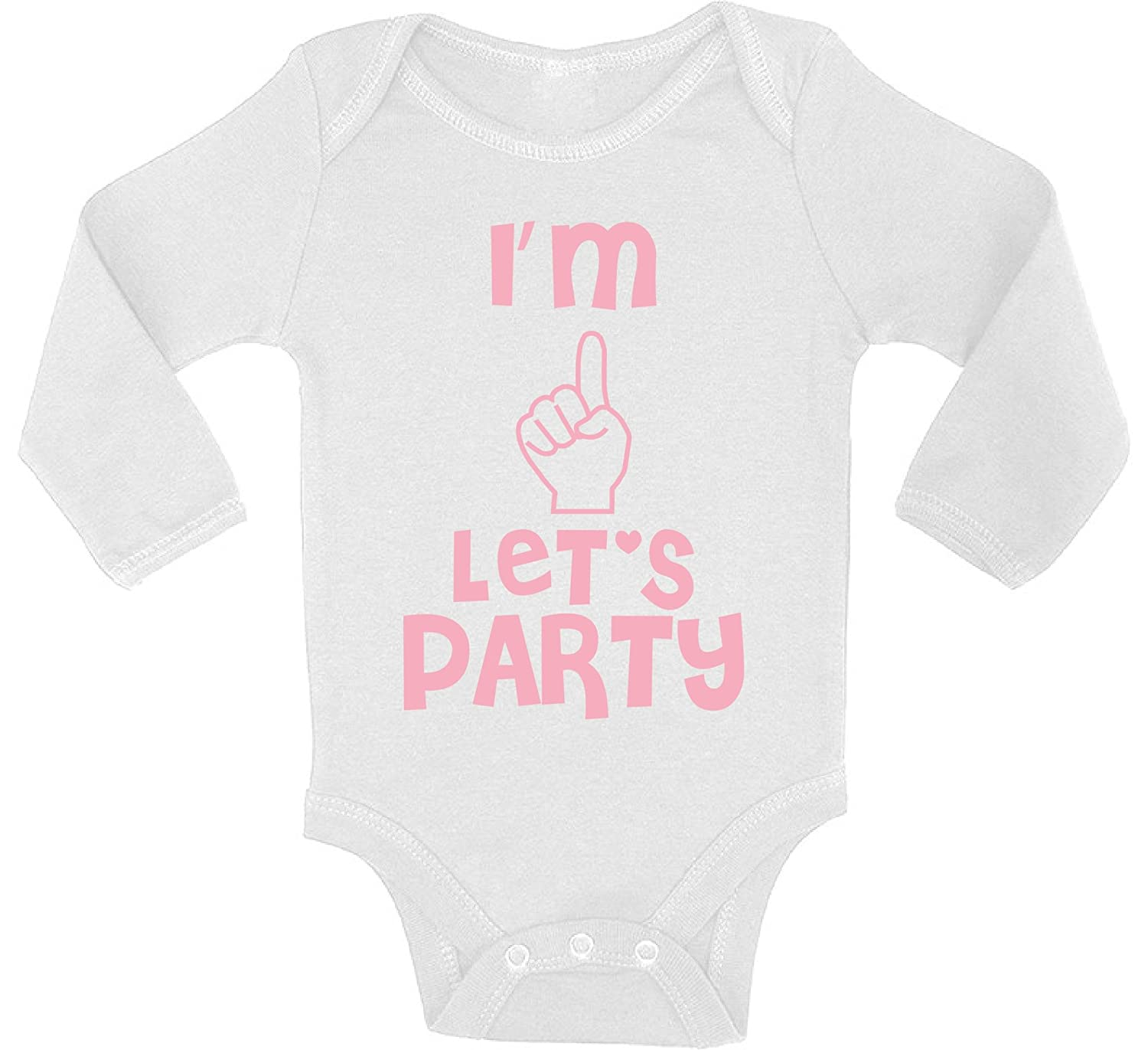 Awkward Styles Baby Im One Lets Party Boy Girl Long Sleeve Bodysuits Tops Birthday Party of One Year Old