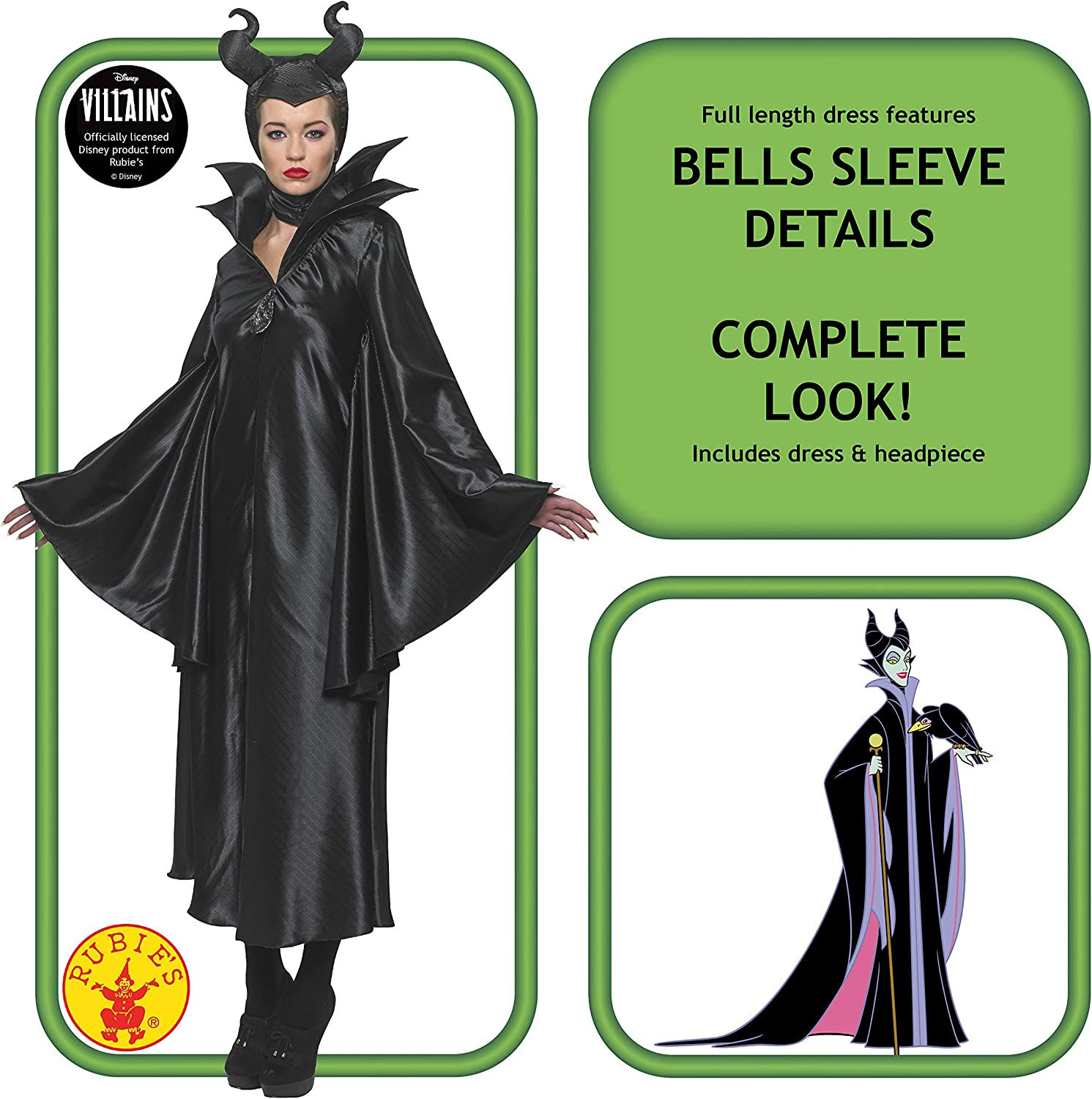 Details about  /Ladies Maleficent Disney Costume Movie Official Halloween Rubies Fancy Dress
