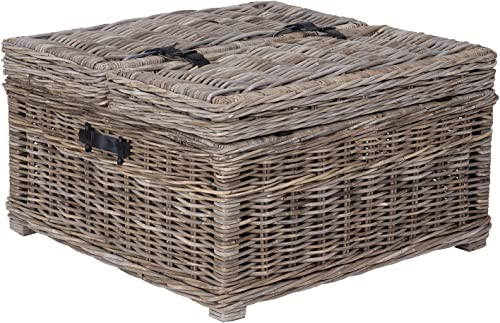 East at Main Hank Grey Rattan Square Coffee Table - the best living room table for the money