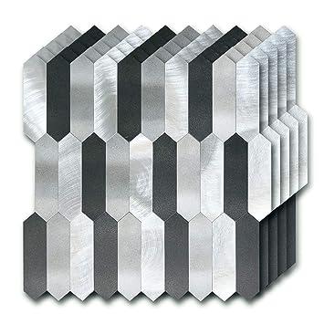 Amazoncom Stickgoo Peel And Stick Backsplash Tile Metal Pvc - Peel-and-stick-backsplash-tile-decoration