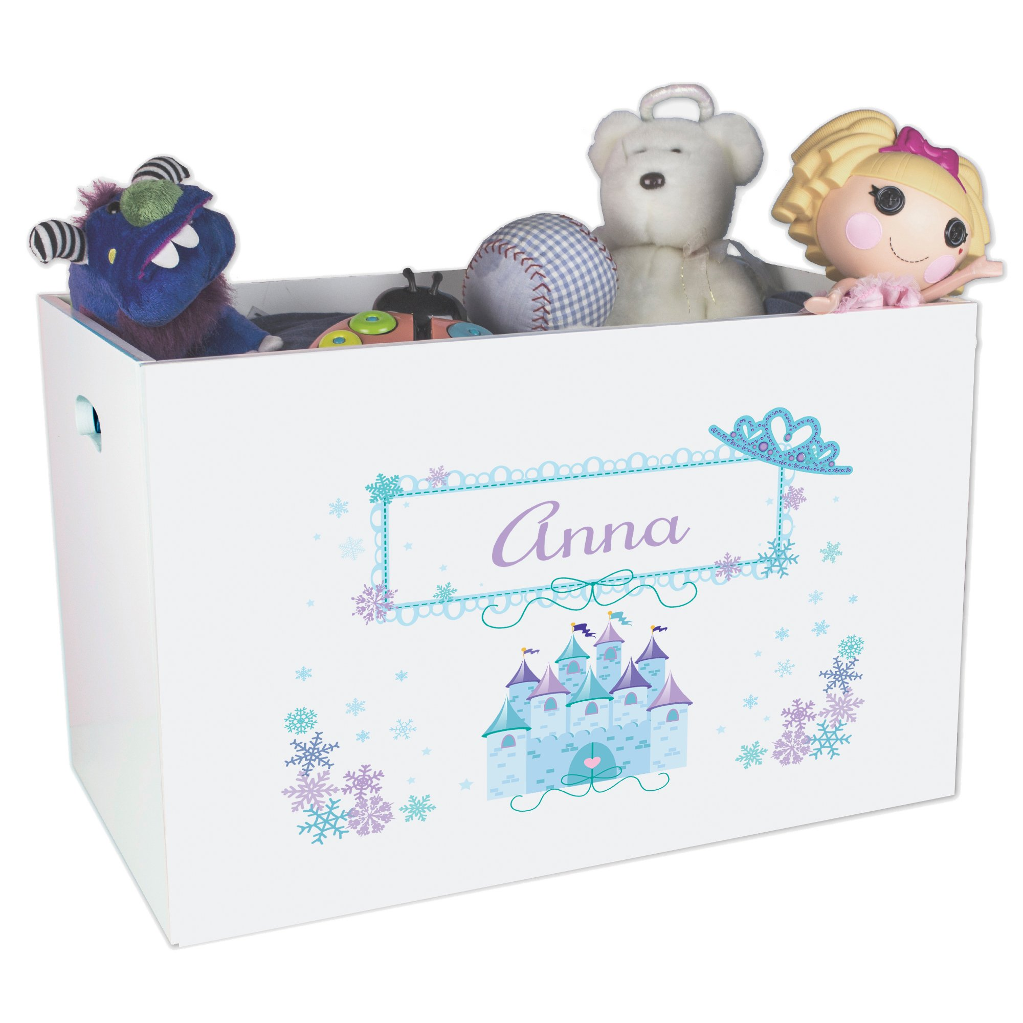 Personalized Ice Princesss Nursery White Open Toy Box