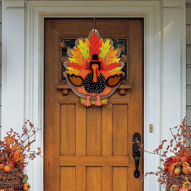 KALEFO Thanksgiving Decorations 3D Turkey Decor Door Hanger