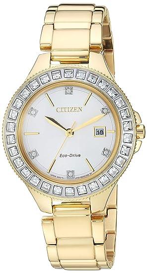 Citizen FE1192-58A - Reloj de cuarzo para mujer, diseño de disco ecológico,