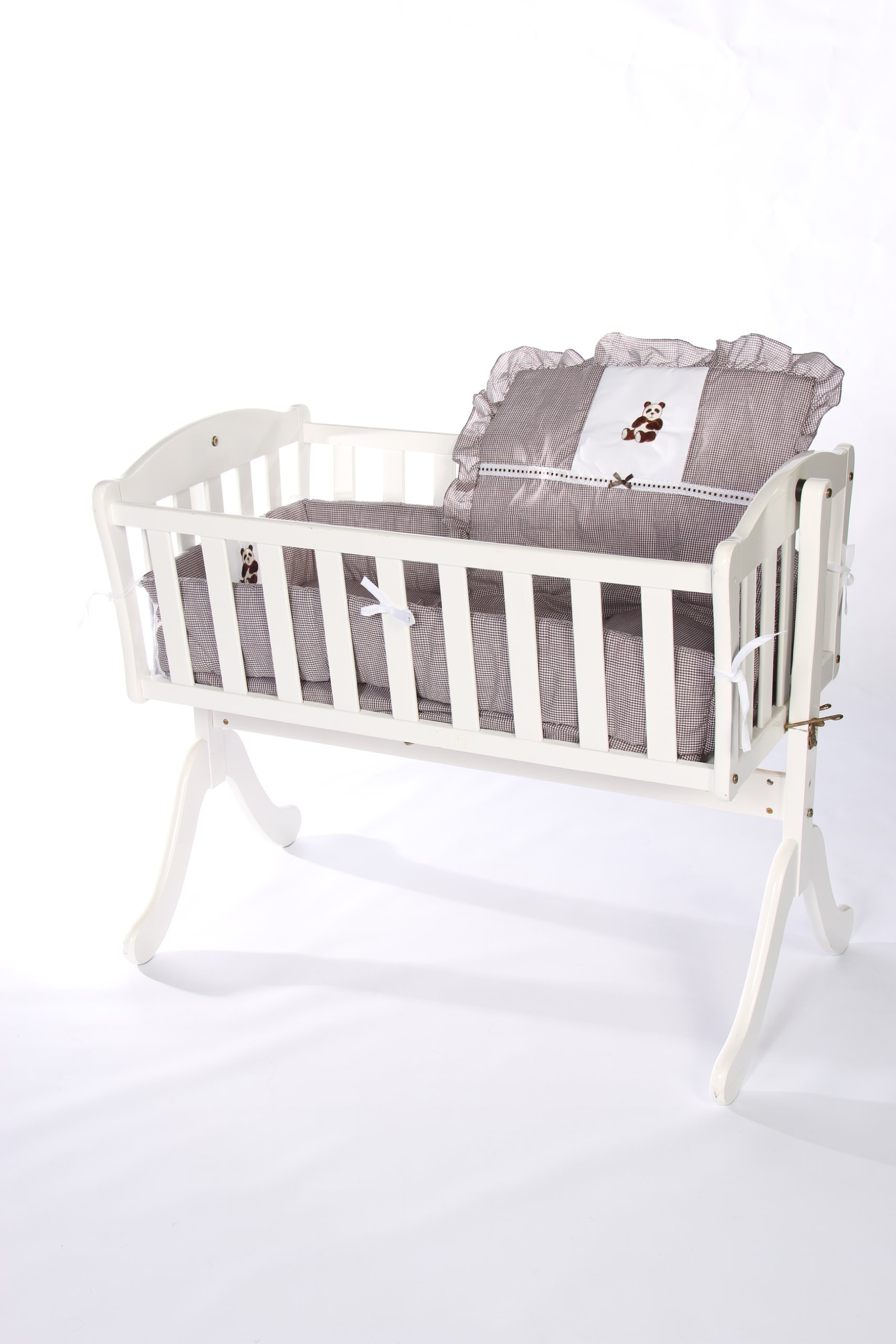 Baby Doll Bedding Gingham with Bear Applique Cradle Bedding Set, Brown