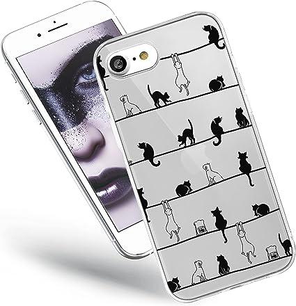 QULT Custodia Compatibile con Cover iPhone SE 2020, iPhone 7/8 Silicone Gatto Slim Trasparente Morbida Chiaro Cristallo Anti-Scratch Bumper Case con ...