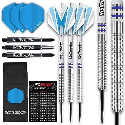 RED DRAGON Evos Tungsten Steeltip Darts Set 24g 26g 28g with Flights Stems and Wallet