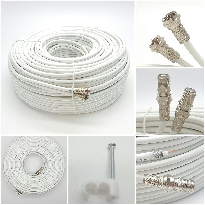 Cable coaxial de Sky Satélites, conectores en F, color blanco: Amazon.es: Electrónica