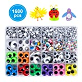 1680pcs Googly Wiggle Eyes Self Adhesive, for Craft Sticker Eyes Multi Colors and Sizes for DIY by ZZYI (Color: Multicolor Eyes, Tamaño: 1680pcs)