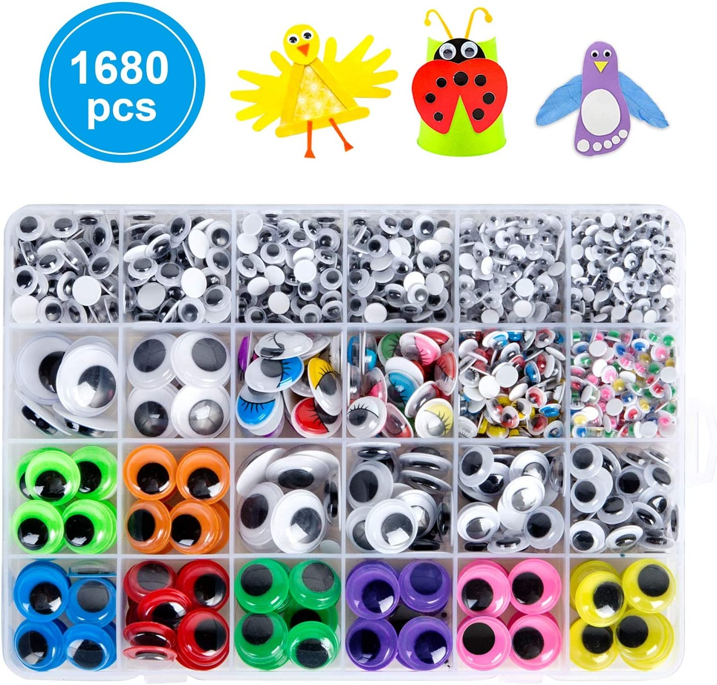 1680pcs Googly Wiggle Eyes Self Adhesive, for Craft Sticker Eyes Multi Colors and Sizes for DIY by ZZYI
