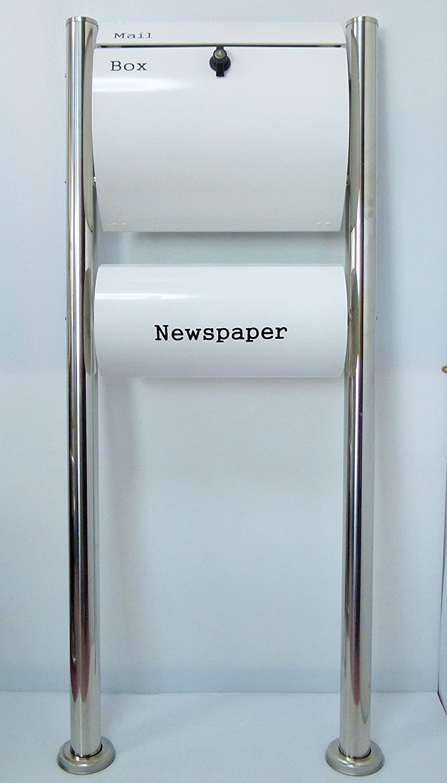 郵便ポスト郵便受け北欧風大型スタンド型プレミアムステンレス白色ポスト+新聞紙ホルダーpm064s B071S9C7M2 23880