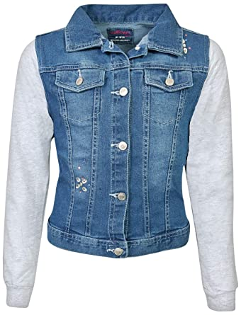 fb4d8777e9 WallFlower Girls Fashion Denim Jackets (Medium Wash W/Bling, Small - 7/