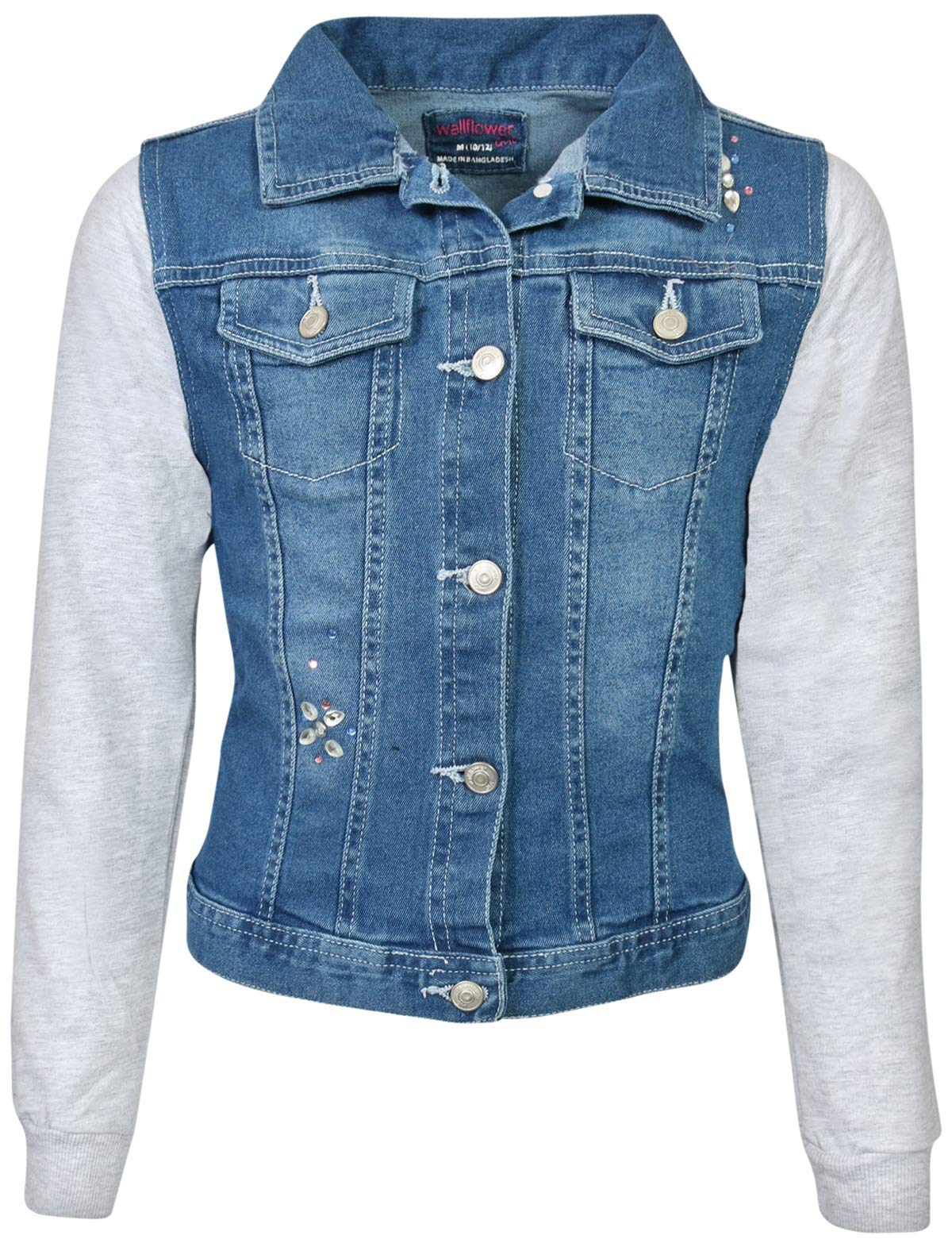 WallFlower Girls Fashion Denim Jackets (Medium Wash W/Bling, Large - 14/16)'