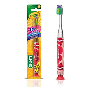 GUM Crayola Timer Light Toothbrush (Single Toothbrush) Soft Bristle, Packaging May Vary