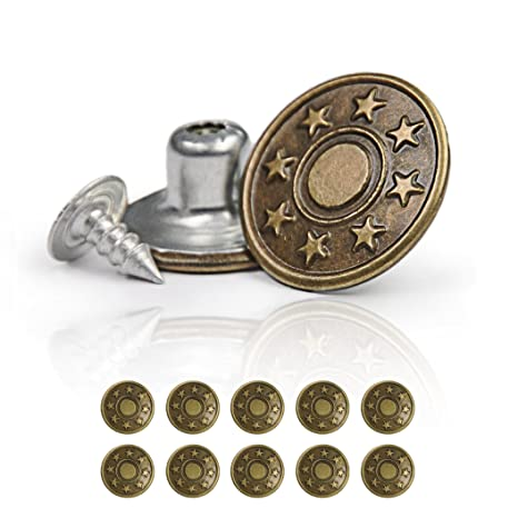 Bronze Star Design Denim Buttons Tacks Hammer On 17mm 6 Metal Jeans Buttons