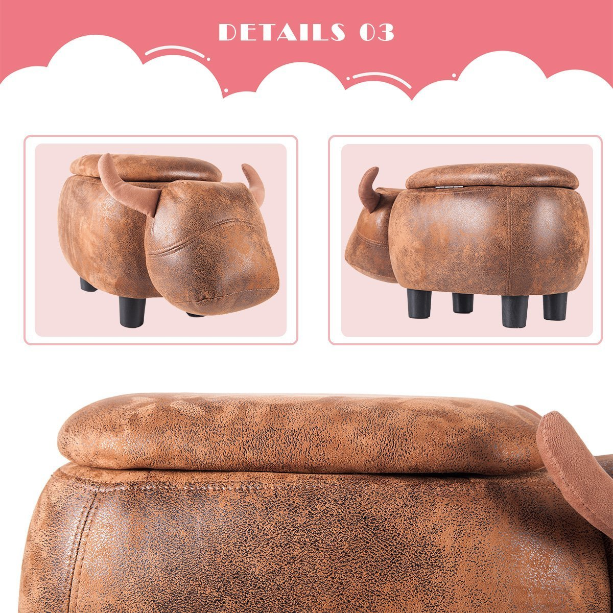 Merax Have-Fun Series Upholstered Ride-on Storage Ottoman Footrest Stool with Vivid Adorable Animal Shape (Brown Buffalo) by Merax (Image #7)