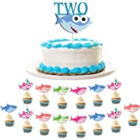 Baby Shark 2nd Birthday Decoration Pack Includes 1 Shark TWO Birthday Cake Topper and 30 Shark Family Cupcake Toppers Shark Themed Two-Year-Old Birthday Party Supplies by 7 Colors Kids
