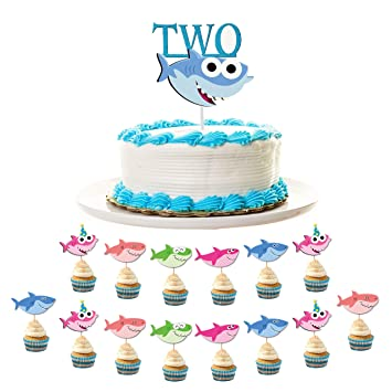Phenomenal Baby Shark 2Nd Birthday Decoration Pack Includes 1 Shark Two Funny Birthday Cards Online Fluifree Goldxyz