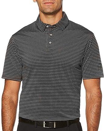 5fd0f7a59a PGA TOUR Mens Big & Tall Airflux Feeder Stripe Polo Shirt Large Tall Caviar  Black