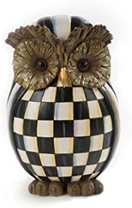 MacKenzie-Childs Courtly Check Owl, Decorative Owl Figurine, Unique Home Accents