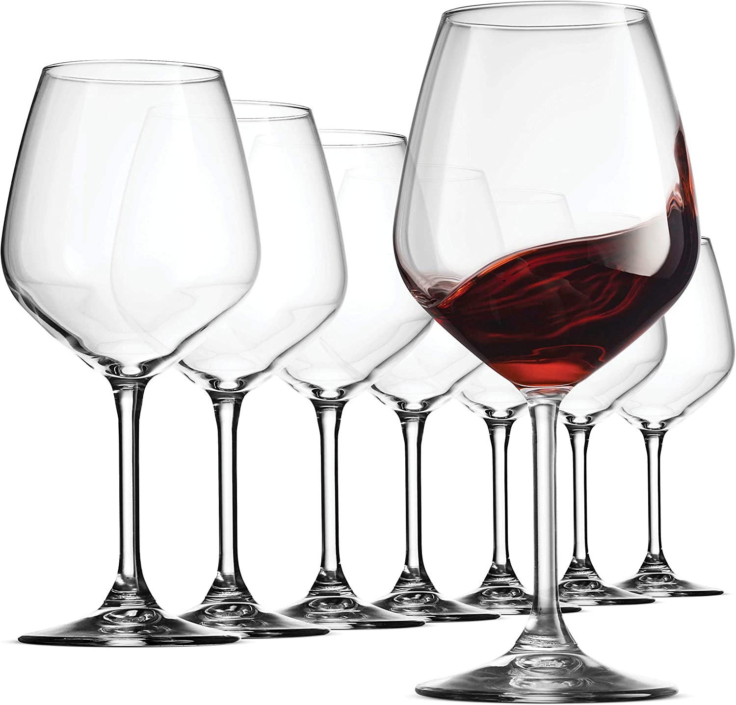 Bormioli Rocco Italian Red Wine Glasses 18 Ounce (Set of 8) Crystal Clear, Laser Cut Rim For Wine Tasting, Elegant Party Drinking Glassware, Restaurant Quality