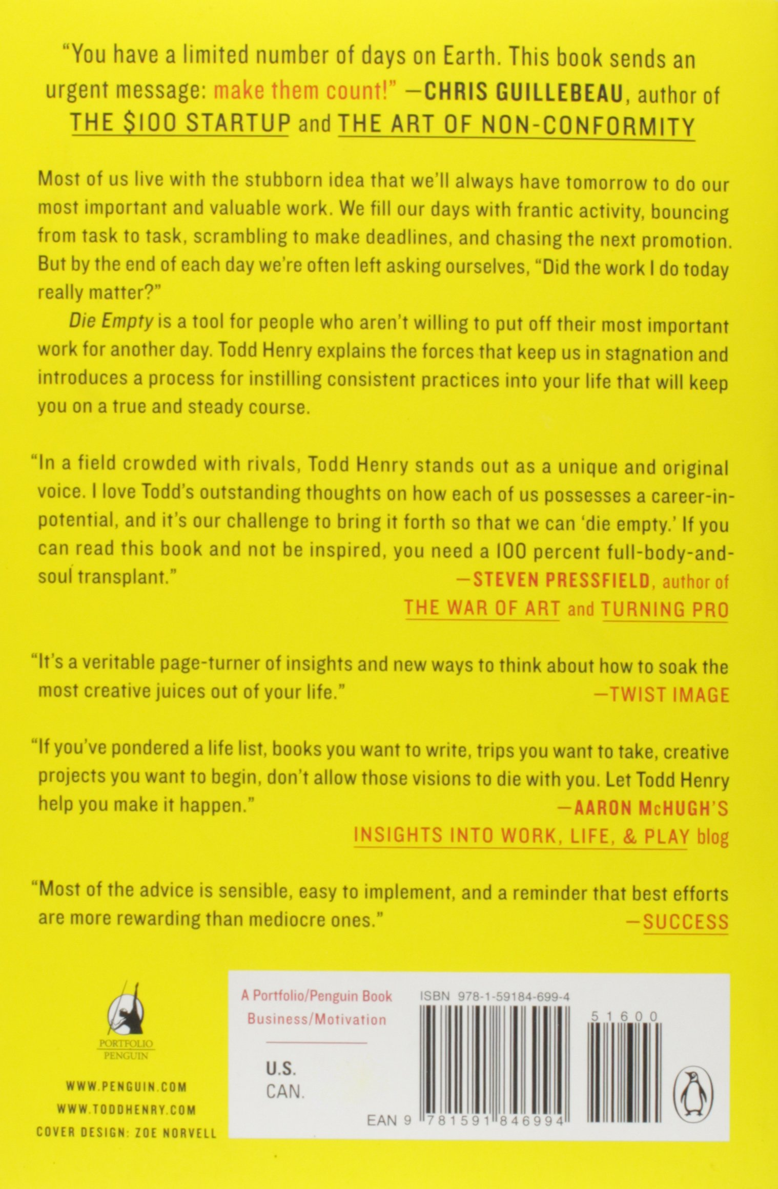 Die Empty: Unleash Your Best Work Every Day: Todd Henry: 9781591846994:  Amazon.com: Books