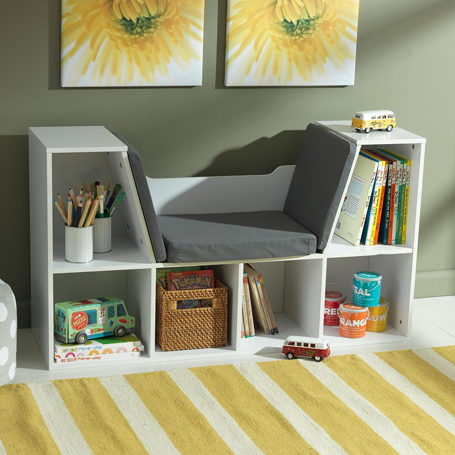 Amazon: Top Rated Best Seller Child Kids White Woodfy Reading  Learning Center Nook Furniture With Padded Cushion Seat Generous Storage Anizer